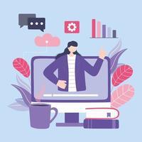 formazione online con la donna sul computer vettore