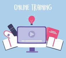 formazione online con computer vettore