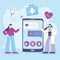 concetto di telemedicina con medico e paziente con uno smartphone vettore