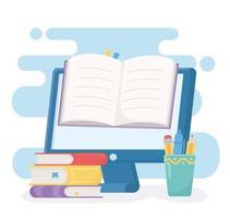 istruzione in linea con computer e libro vettore
