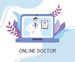 concetto di telemedicina con medico sul computer portatile vettore
