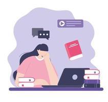formazione online con la donna sul laptop vettore