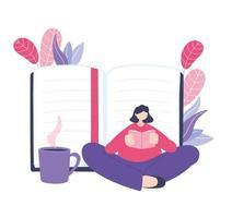 donna che legge un libro con una tazza di caffè vettore