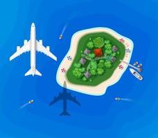 vista dall'alto di un'isola visita la nave con un aereo in volo vettore