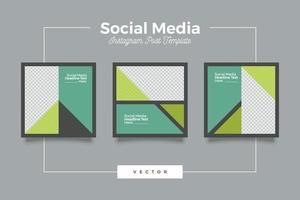 banner modello di social media moderno verde vettore