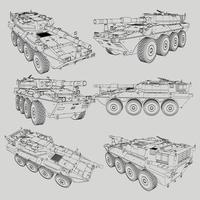 lineart di carri armati militari vettore