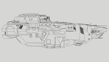 lineart dall'astronave vettore