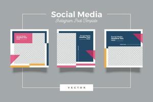 set di banner modello di social media minimalista di moda vettore