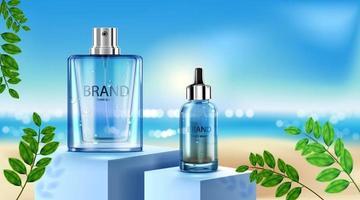 bottiglia cosmetica di lusso pacchetto crema per la cura della pelle, poster di prodotti cosmetici di bellezza, foglie e sfondo spiaggia vettore