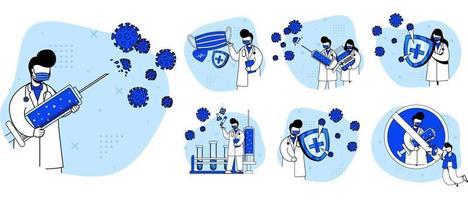 set di icone di vaccino virus medico vettore