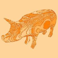 disegno voxel di un maiale vettore