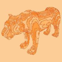disegno voxel di una tigre vettore