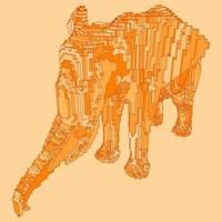 disegno voxel di un elefante vettore