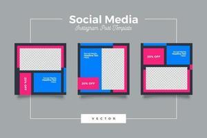 moderno modello di post sui social media blu e rosa vettore