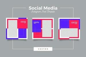 modello di post sui social media a colori scioccanti minimalisti vettore