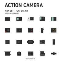 icone della macchina fotografica di azione. set di icone di action camera. icone della fotocamera. vettore