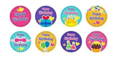 adesivi di buon compleanno vettore