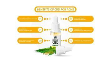 vantaggi di utilizzare l'olio di cbd per l'acne. poster informativo bianco sugli usi medici dell'olio di cbd per l'acne con una bottiglia di vetro trasparente di olio di cbd medico e foglie di canapa vettore