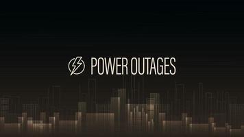 interruzione di corrente, poster di avvertimento con logo e città senza elettricità in stile digitale su sfondo vettore