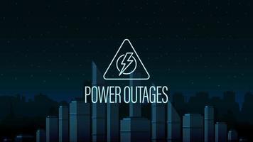 interruzione di corrente, logo del triangolo di avvertenza sullo sfondo della città senza elettricità in stile digitale vettore