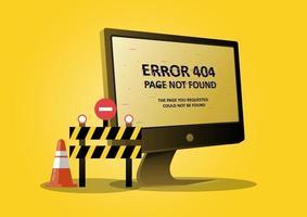 errore di pagina 404 con un computer desktop e un segno proibito vettore