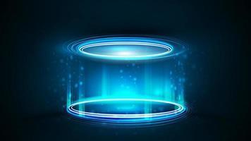 podio al neon blu vuoto per la presentazione del prodotto, illustrazione realistica di vettore 3d. podio ologramma digitale blu di forma cilindrica con particelle e anelli lucidi in camera oscura