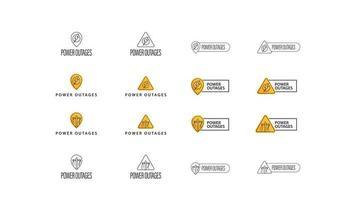interruzione di corrente, ampia raccolta di segni, simboli e loghi isolati su sfondo bianco. avvertimento concetti simboli gialli, senza elettricità vettore
