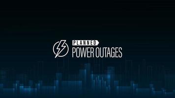 interruzione di corrente pianificata, poster blu con logo di avvertimento e città senza elettricità in stile digitale su sfondo vettore