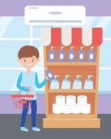 giovane uomo shopping prodotti per la pulizia vettore