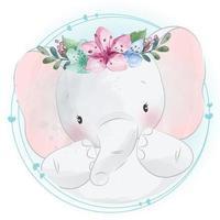 elefante carino con illustrazione floreale vettore