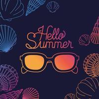 ciao estate e vacanza silhouette design vettore