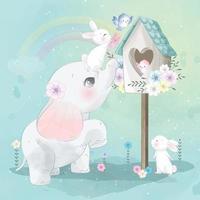 elefante carino giocando con coniglietto e illustrazione birdhouse vettore