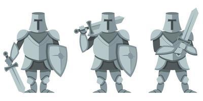 cavaliere in pose diverse impostate vettore