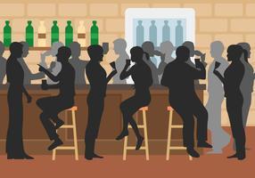 Illustrazione vettoriale di bar affollato