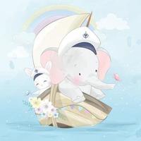 elefante carino con coniglietto su una barca illustrazione vettore