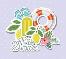 ciao design di adesivi estivi e per le vacanze vettore