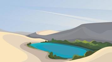 piccolo lago nel deserto. bellissimo paesaggio naturale. vettore