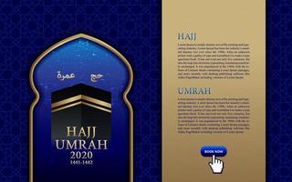 pligrimage islamico in arabia saudita hajj umrah con pattern per modello di web design vettore