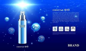 coenzima q10 siero spray per la cura della pelle cosmetica sotto il concetto di sfondo blu oceano con luce solare illustrazione vettoriale di design del marchio di imballaggio 3d