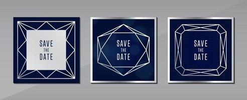 ottenere carta blu sfondo grigio concetto di gioielli con cornice d'argento per il disegno vettoriale di poster di copertura del messaggio di testo