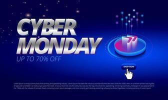 cyber lunedì evento di vendita online sfondo spazio blu con l'icona successiva acquista ora vettore per l'illustrazione di promozione della copertina di banner