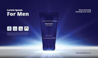 uomini schiuma detergente viso su sfondo di metallo e acciaio inossidabile con illustrazione vettoriale di imballaggio 3d