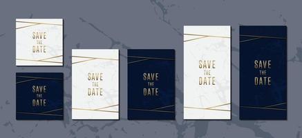 set di carte invito a nozze di elegante modello di struttura in marmo blu e dorato vettore