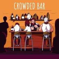 Illustrazione di bar affollata vettore