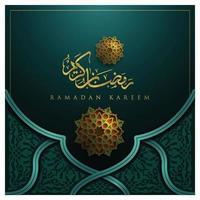 Ramadan Kareem biglietto di auguri disegno vettoriale motivo floreale islamico con calligrafia araba oro incandescente