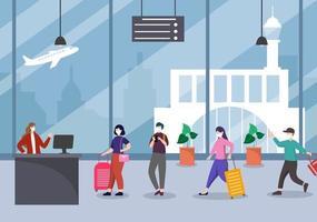 nuova normalità, illustrazione vettoriale persone in maschera osservano l'allontanamento sociale all'interno dell'aeroporto, la fila per il check-in e la coda di viaggio design piatto