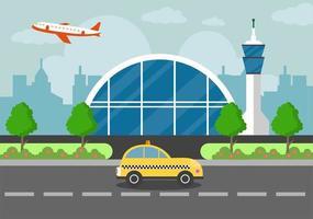 terminal dell'aeroporto con aeromobili in decollo e diversi tipi di trasporto elementi modelli illustrazione vettoriale