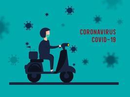 servizio di consegna per la prevenzione della diffusione del coronavirus. vettore