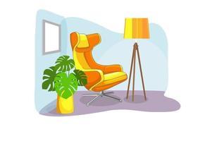 soggiorno moderno con mobili moderni sedia relax. vettore