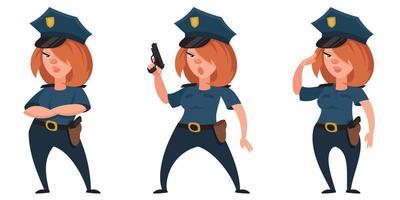 agente di polizia femminile in diverse pose. vettore